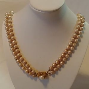 Champagne Beaded Faux Pearl Necklace